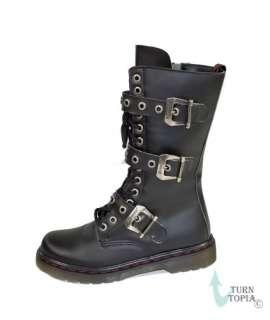 Mid Calf Lace Up Combat Boots Mens Biker/Goth/Steampunk