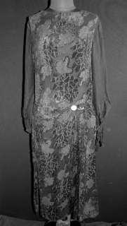 EXCEPTIONAL EDWARDIAN BLACK CUT SILK VELVET DRESS SZ 8