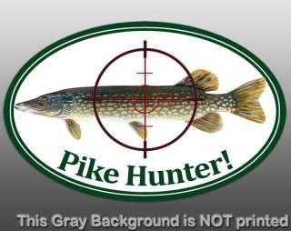 Oval Pike Hunter Sticker  vinyl decal hunt fun fishing northern fish
