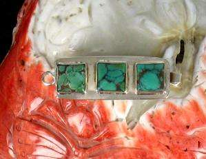 LARGE GREEN BLUE TURQUOISE STERLING CLASP 3 STONE #5~