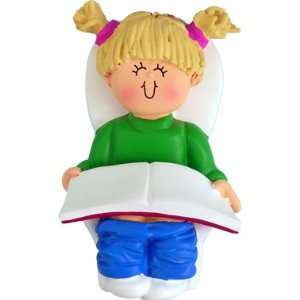 2062 Blonde Girl Potty Training Personalized Christmas