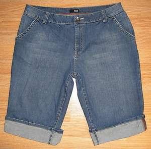 Womens ANA Stretch Long Denim Blue Jean Cuffed Shorts Distressed Size