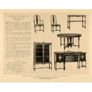 1918 Print Grand Rapids Bookcase Chair Dining Room Set