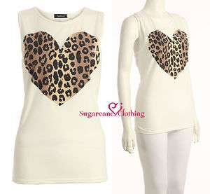 NEW WOMENS ANIMAL LEOPARD HEART PRINT LADIES TOP VEST TANK TOP / SIZE