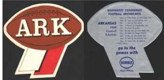 1960 Arkansas Razorbacks Humble Oil Football Schedule