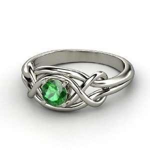 Infinity Knot Ring, Round Emerald Platinum Ring Jewelry