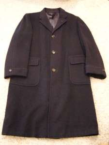 Brookshire Rexmoor Camel Hair Wool Mens L Navy Blue Long Dress Coat