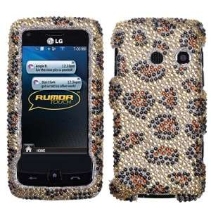 Leopard Crystal Bling Hard Case Phone Cover for LG Rumor Touch LN510
