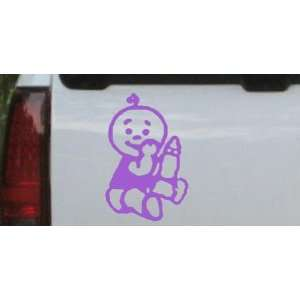 Purple 14in X 9.4in    Baby With Bottle Car Window Wall Laptop Decal