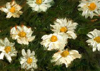 Daisies, Original Floral Flower Oil Painting by Nick Orban Small 5 x 7
