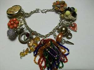 ALTERED ART JEWELRY CHUNKY CHARM BRACELET SEED BEAD FALL COLORS /{BD