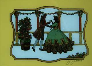 ART DECO REVERSE PAINTING ON GLASS TRAY SILOUETTE NICE!