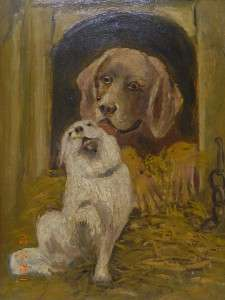 ANTIQUE, TWO DOGS IN LOVE, FOLK ART OIL PAINTING SIGNED HANSEN