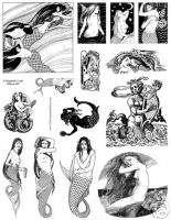 Mermaid Fantasy Art Stamp Fairy Mermaids RUBBER STAMPS