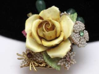 STANLEY HAGLER N.Y.C. Brooch Pin Rose Floral Crystals Art Glass