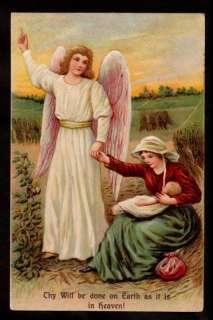 ASB emb. angel mother & child prayer religions postcard