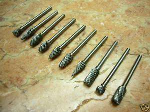10 pieces Tungsten Carbide Rotary Burr SET 1/8 shank