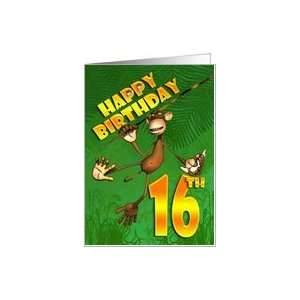Happy 16th Birthday Monkey Banana Card Toys & Games