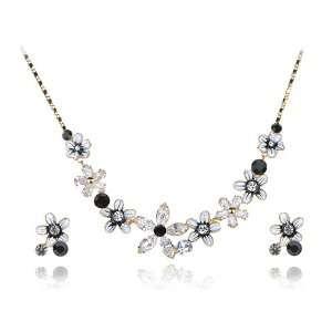 Swarovski Crystal Element Enamel Flower Bomb Earring Necklace Set