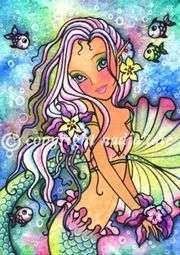ACEO Fairy Fantasy Art TROPICAL BLOSSOMS MERMAID Ltd Ed
