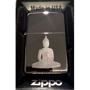 Zippo Custom Lighter   Buddha Statue Outline Meditation Pose Logo Hi