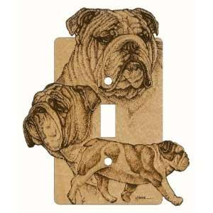 Bulldog Laser Engraved Dog Switchplate Design 3 (Single