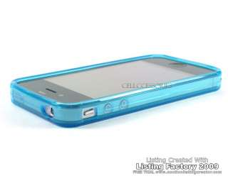 BLUE neon crystal silicone skin cover case iPhone 4 4G