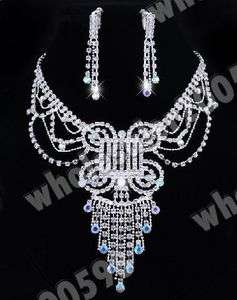 Austrian Rhinestone Crystal Necklace Earring Choker Set