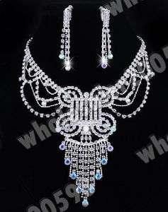 Austrian Rhinestone Crystal Necklace Earring Choker Set
