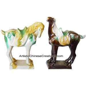 / Oriental Gifts   Tri color Tang Pottery (Horses)