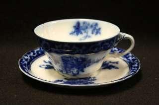 Vtg Touraine England Flow Blue Cup & Saucer China Set ‡
