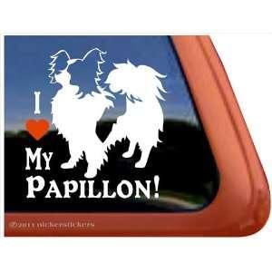 I Love My Papillon Vinyl Window Dog Decal Sticker