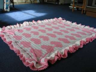 PINK HEARTS CROCHETED BABY BLANKET AFGHAN w/ RUFFLES, RIBBONS & BOWS