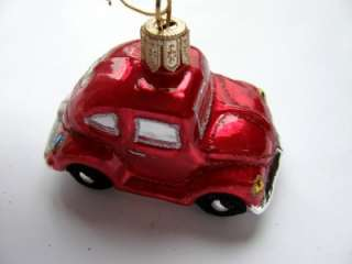 VW BUG BEETLE HANDPAINTED GLASS CHRISTMAS TREE ORNAMENT MED