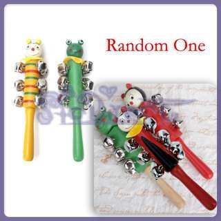 Lovely Baby kid Hand Bell Stick Shaker Cartoon Face New