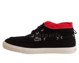 Lacoste Bateau Mid SRW Black Canvas Fold Red Womens Casual Shoes