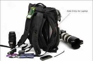 Black Canvas DSLR SLR Camera Bag Laptop Backpack Rucksack Bag For