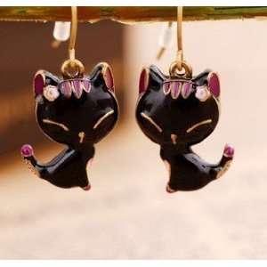 Kiss Me Black Mimi Kitty Cat dangle earrings