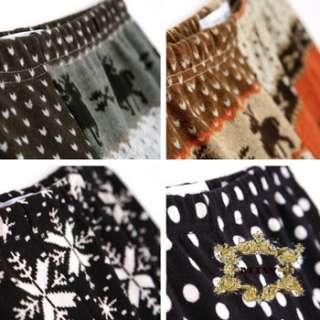 New Fashion Grey Deer Seasonal Pattern Knitting Leggings ONE Sz For XS