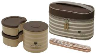 Cute Thermal Bento Lunch Box Set Brown Stripe