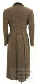 Brown Wool Herringbone Velvet Trim Double Breasted Coat Size 6