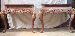 ANTIQUE CHINESE SIDE HALL PAIR TABLE WOOD LACQUERED DRAGON RED GOLD