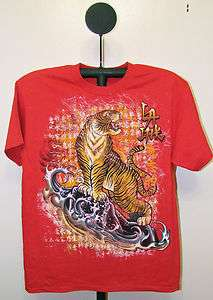 LA 8   LA Ink Red Oriental Tiger Tattoo Art T Shirt   Size Large   XL