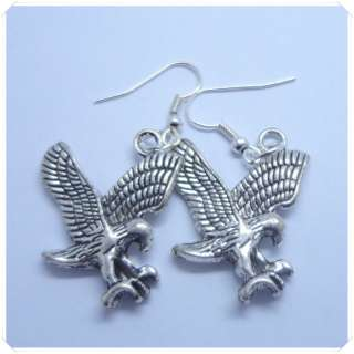 25MM Tibetan Silver Eagle Hawk Charm Bead Dangle Hook Earrings Free