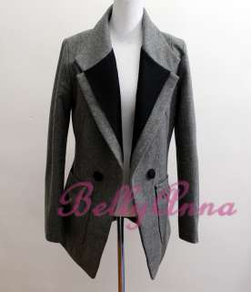Elegant OL Ladies High Quality Wool Blazer Jacket Suit Coat Outwear