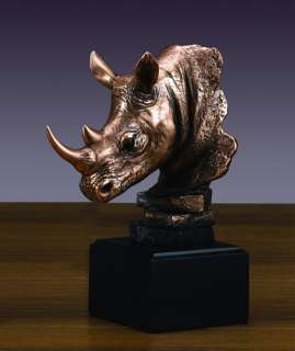RHINOCEROS HEAD BRONZE PLATED STATUE/SCULPTURE/FIGURINE