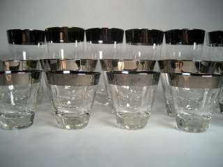 16 Dorothy Thorpe Style Silver Band Cocktail Glasses Mad Men Mid