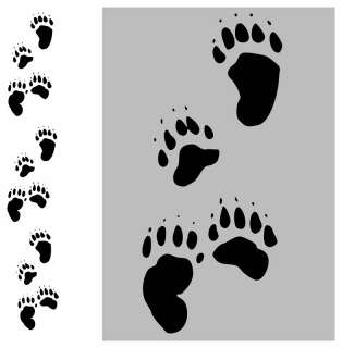 12 BEAR TRACKS PAW PRINTS WALL STICKER DECAL HUNTING