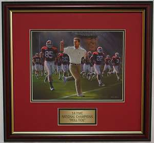 Nick Saban Bear Bryant framed print 14 time National Champions