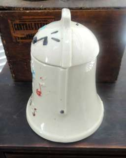 vintage/antique COOKIE JAR w/BELL INSIDE LID ring for c